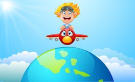 Happy kid boy riding a plane. Illustration of Happy kid boy riding a plane Royalty Free Stock Images