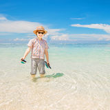 Happy kid boy wearing summer hat and hipster Royalty Free Stock Photos