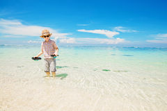 Happy kid boy wearing summer hat and hipster Stock Images