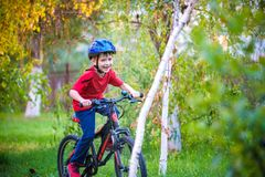 Happy kid boy of 6 years having fun in autumn forest with a bicycle on beautiful fall day. Active child making sports. Safety, sp. Orts, leisure with kids royalty free stock images