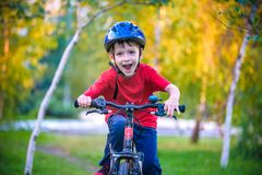 Happy kid boy of 6 years having fun in autumn forest with a bicycle on beautiful fall day. Active child making sports. Safety,. Sports, leisure with kids royalty free stock photo
