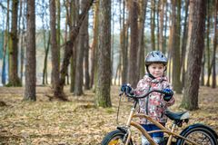 Happy kid boy of 3 or 5 years having fun in autumn forest with a. Bicycle on beautiful fall day. Active child wearing bike helmet. Safety, sports, leisure with Stock Photos