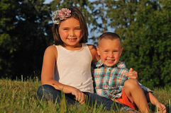 Happy kid brother and sister Royalty Free Stock Images