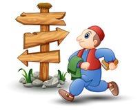 Happy kid cartoon walking with blank wood arrow sign. Illustration of Happy kid cartoon walking with blank wood arrow sign Royalty Free Stock Photo