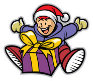 Happy kid with a christmas gift. Vector of happy kid with a christmas gift Stock Images