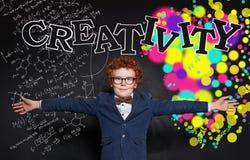 Happy kid. Creativity education and development concept stock photos