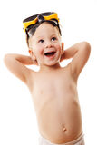 Happy kid in diving mask Royalty Free Stock Images