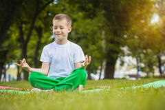 Happy kid is doing exercises in the park Royalty Free Stock Photo