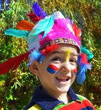 Happy kid dressed as Injun Royalty Free Stock Photography