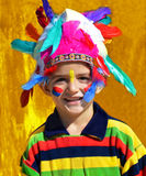 Happy kid dressed as Injun Stock Photos
