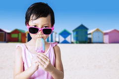 Happy kid enjoy ice cream Stock Photography