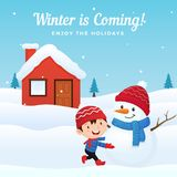 Happy kid enjoy making and playing with cute dressed snowman at front of house in winter season background vector illustration. vector illustration
