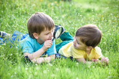 Happy kid enjoying sunny late summer and autumn day in nature on green grass. Happy two brothers kid enjoying sunny late summer and autumn day in nature on Royalty Free Stock Photos