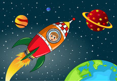 Happy Kid Exploring in Space Rocket Stock Photos