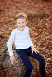 Happy kid at fall Royalty Free Stock Photography