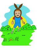 Happy Kid Finding Egg on Easter Hiding Eggs Game. Cartoon Illustration Royalty Free Stock Photography