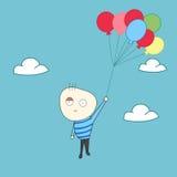 Happy kid fly with balloons. Vector Stock Photo