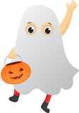 Happy kid in a ghost costume Royalty Free Stock Images
