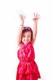 Happy kid Girl drinking milk or yogurt Royalty Free Stock Image