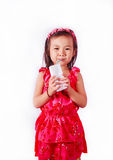 Happy kid Girl drinking milk or yogurt.  royalty free stock images