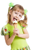 Happy Kid Girl Eating Ice Cream Isolated Royalty Free Stock Images