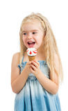 Happy kid girl eating ice cream isolated Stock Photography