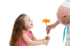 Happy kid girl gives flower to pregnant mother Stock Image