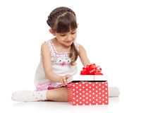 Happy kid girl holding gift box Stock Photography