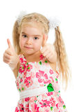 Happy kid girl with ok hand sign Royalty Free Stock Images