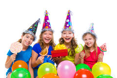 Happy kid girls birthday party balloons candy Royalty Free Stock Photos