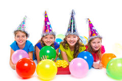 Happy kid girls birthday party balloons and gift Stock Photos