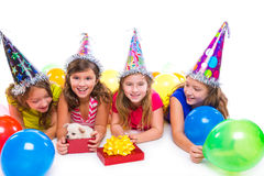 Happy kid girls puppy dog gift in birthday party Royalty Free Stock Photos