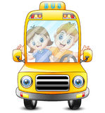 Happy kid going to school with bus Royalty Free Stock Photo