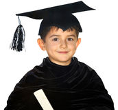 Happy kid graduate with graduation cap Stock Image