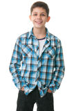 Happy kid with hands inside jeans pockets Royalty Free Stock Images