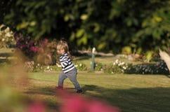 Happy kid having fun.Boy run on green grass in summer garden. Happy kid having fun. Boy with blond hair in striped shirt, blue jeans run on green grass in summer Stock Photos