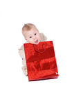 Happy kid with his present Royalty Free Stock Image