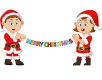 Happy kid holding christmas banner Stock Photo