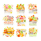 Happy Kid Holiday Colorful Graphic Design Template Logo Series,Hand Drawn Vector Stencils Stock Photography