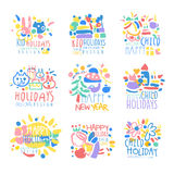 Happy kid Holiday, Happy New Year logo template original design set, colorful hand drawn vector Illustrations. On a white background stock illustration