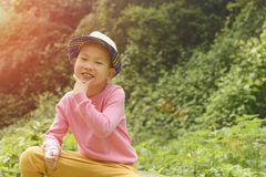 Happy kid with individual gesture Stock Images