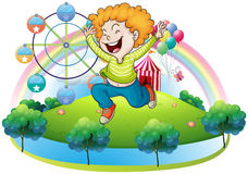 A happy kid in an island with a carnival. Illustration of a happy kid in an island with a carnival on a white background Royalty Free Stock Image