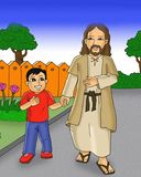 Happy kid and jesus walking together cartoon stock illustration