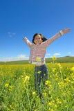 Happy kid jumping Stock Photos
