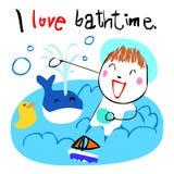 Happy kid love bath time  illustration Stock Photos