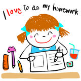 Happy kid love to do homework  illustration Stock Images