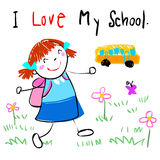Happy kid love to go to school  illustration Stock Images