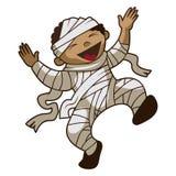 Happy kid mummy icon, cartoon style stock illustration