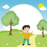 Happy kid with Nature landscape background Royalty Free Stock Photo