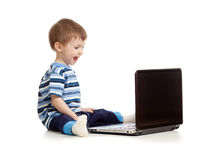 Happy kid with notebook on white background Royalty Free Stock Image